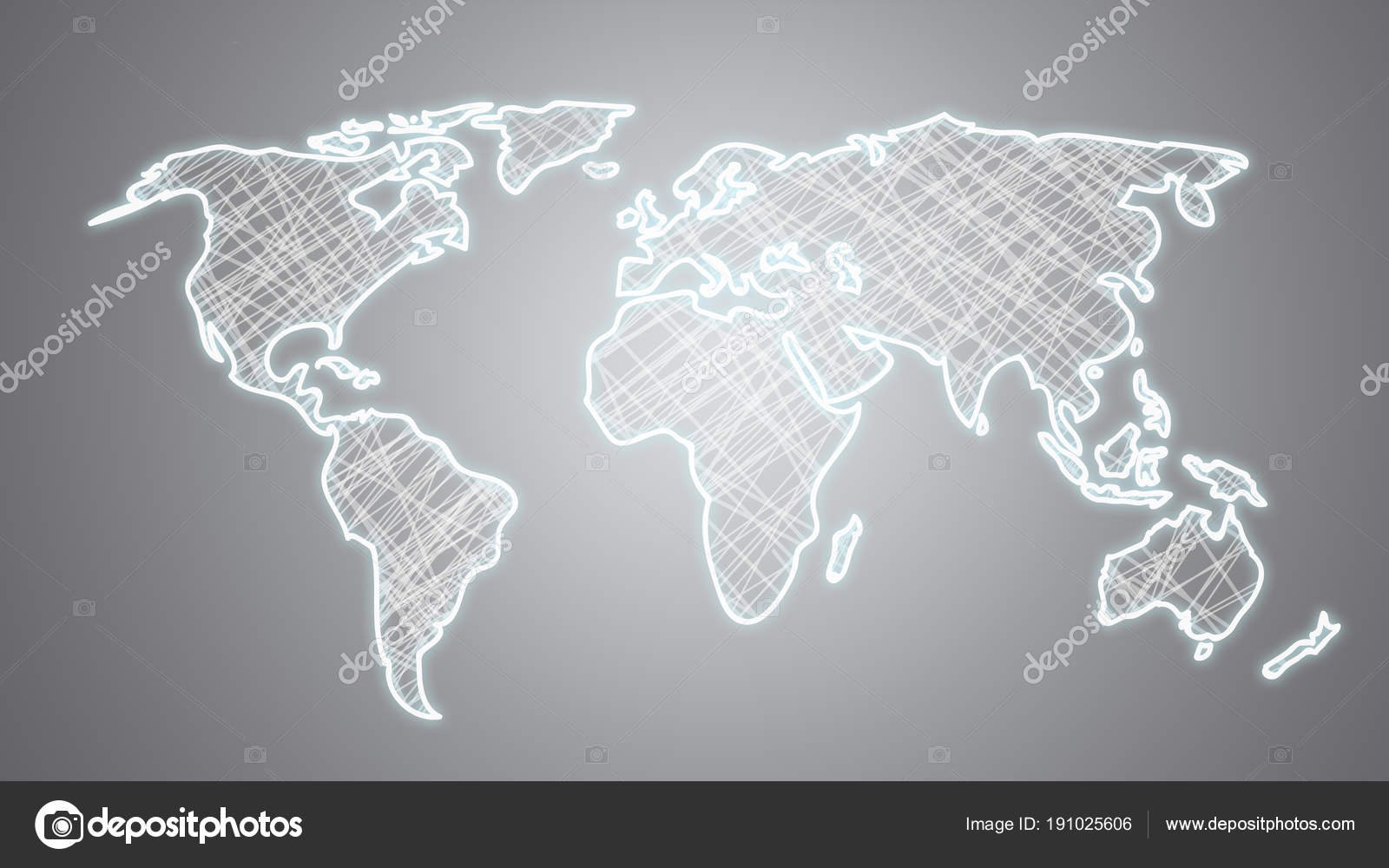 Hand Drawn World Map Grey Background — Stock Photo © perig76 #191025606
