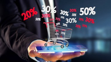 Businessman using smartphone with ed and white trolley and sales discounts