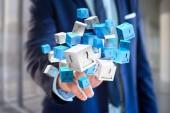 modré a bílé kostky na futuristické rozhraní
