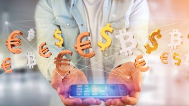 View of Dollar, Euro and Bitcoin signs flying around a network connection - 3d render stock vector