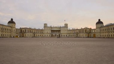 View of the Gatchina Palace in the may twilight. Leningrad region, Russia