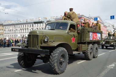 Military all-wheel drive truck ZIL-157 close-up. Parade of retro-transport in honor of Victory Day