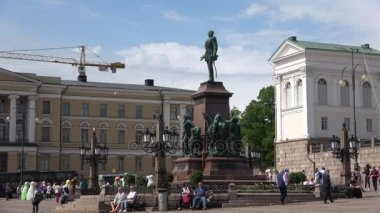 The Monument to Russian Emperor Alexander II on the Senate square on a summer day. Helsinki, Finland
