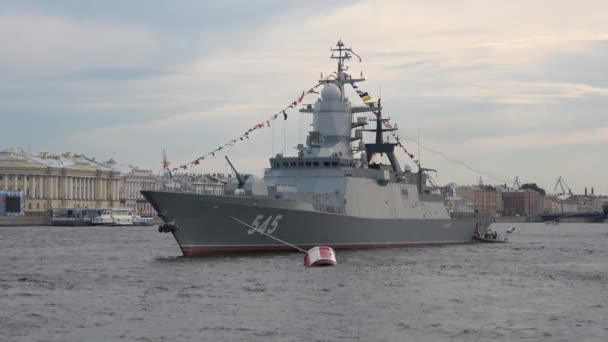 Patrol ship Persistent evening on the river. Preparing to celebrate Navy Day in St. Petersburg