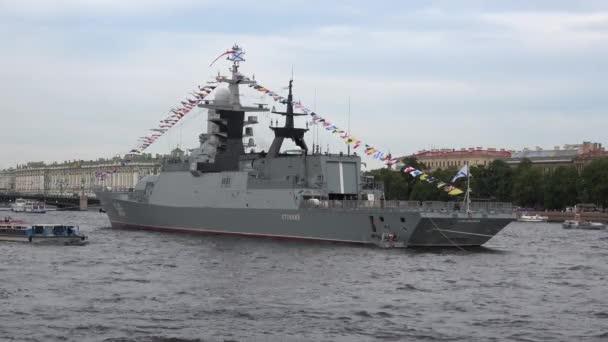 Pleasure boat sails at the Corvette Resistant. St. Petersburg