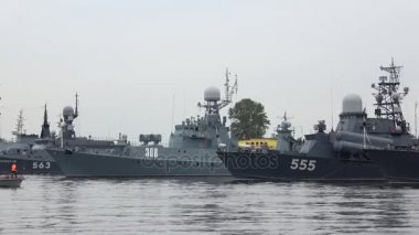 The ships of the Russian Navy in Kronstadt Harbor, cloud july afternoon. Russia