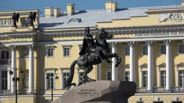 View of the bronze horseman, sunny august day. Saint Petersburg, Russia