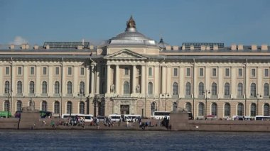 Pier with ancient Egyptian sphinxes and facade of the Academy of Arts. Saint Petersburg