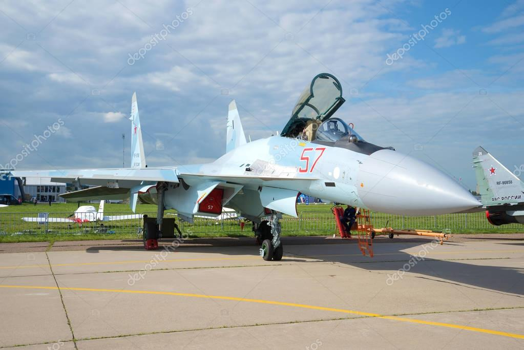 Russian multifunctional Su-35S fighter close-up. MAKS-2017 Air Show