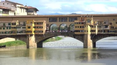 View of the old Golden bridge, sunny september day. Florence, Italy
