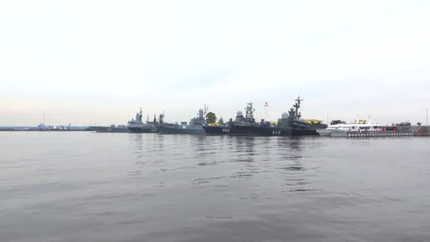 Ships of the Russian Navy in the Middle Harbor of Kronshtadt. Saint Petersburg