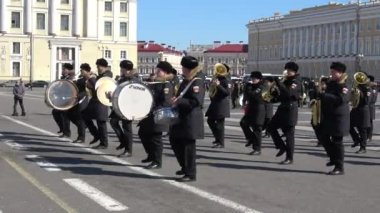 City panorama with Military Academy at spring day  — Stock Video