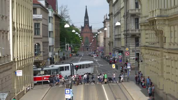 BRNO, CZECH REPUBLIC - APRIL 24, 2018: Tram on Husova the street