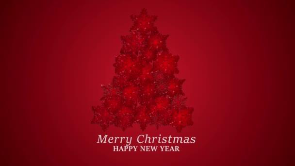 Karácsonyfa csillogó hópelyhek animáció. Xmas Téli Ünnepek Ajándékok és Szórakozás Dekoráció koncepció.Vörös háttér