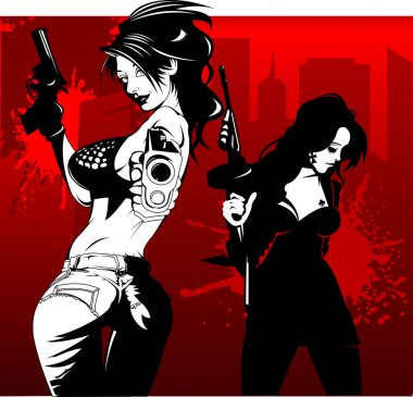 Two babes with guns