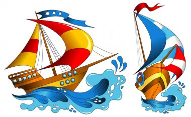 Yachts with colorful sails