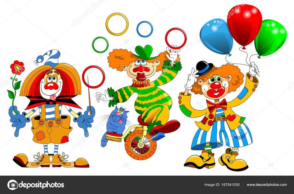 Payasos de color de dibujos animados — Archivo Imágenes Vectoriales ...