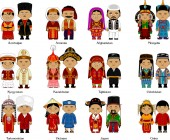 Peoples of the Caucasus and Asia in national dress, vector and illustration