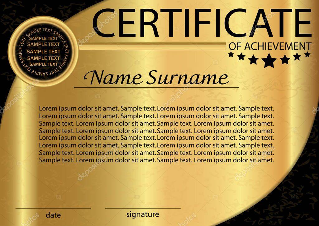 Certificado de logro o plantilla de diploma de oro. Recompensa ...