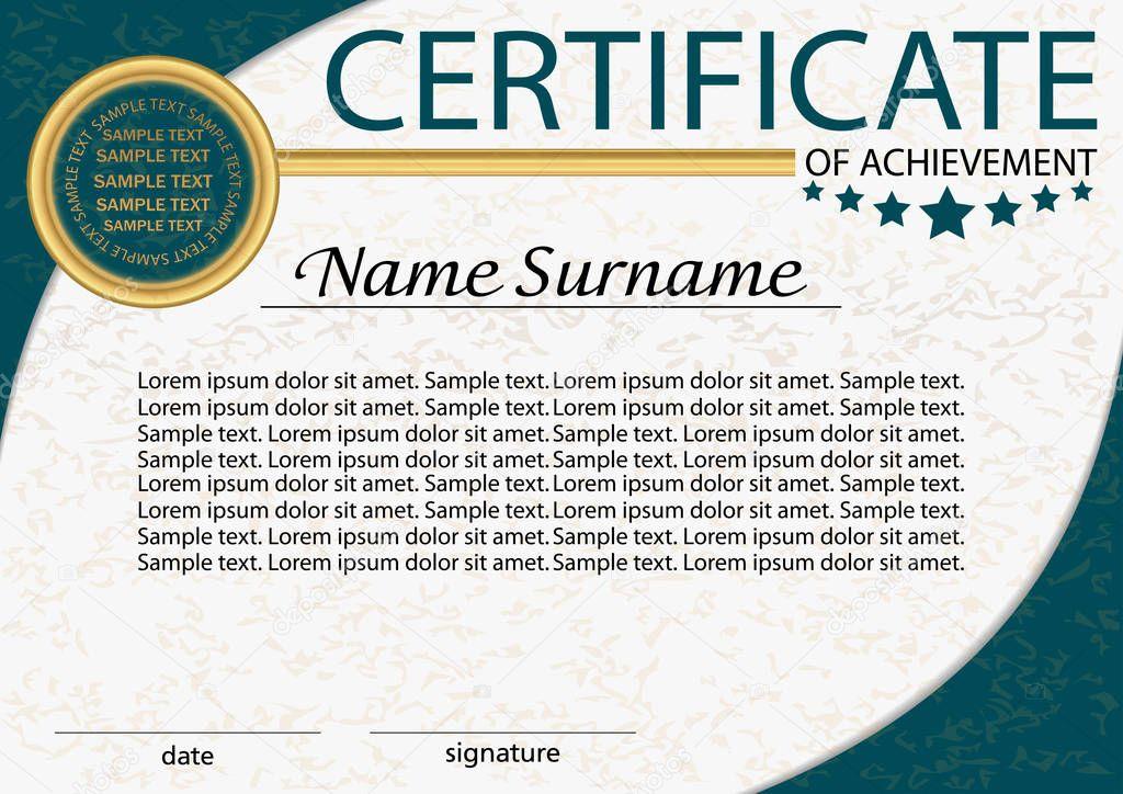Certificado de logro o diploma plantilla. Recompensa. Ganador del ...