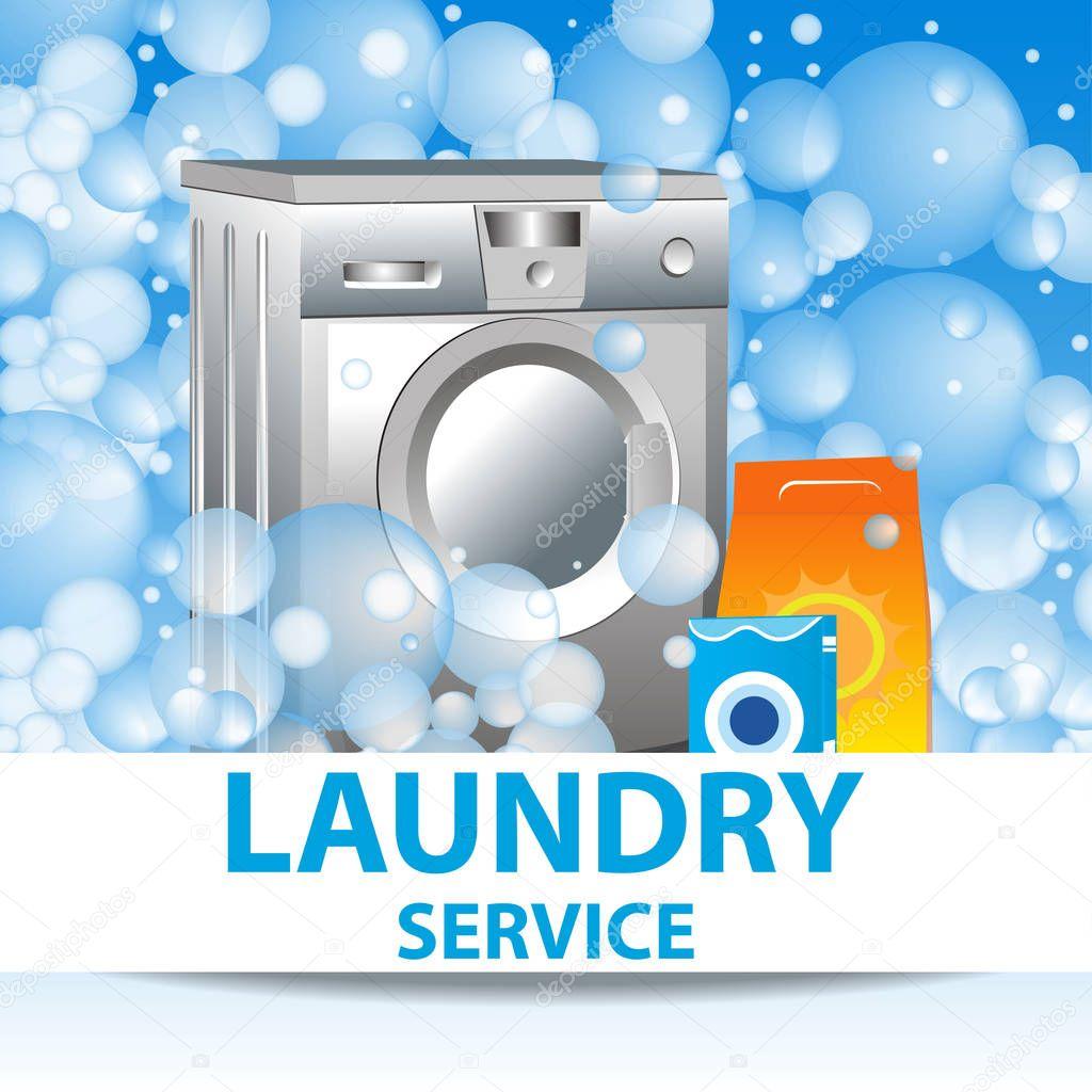 Wäsche-Service. Plakat-Vorlage für Hausreinigung Dienstleistungen ...