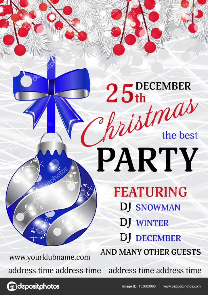 christmas party invitation template background with white fir