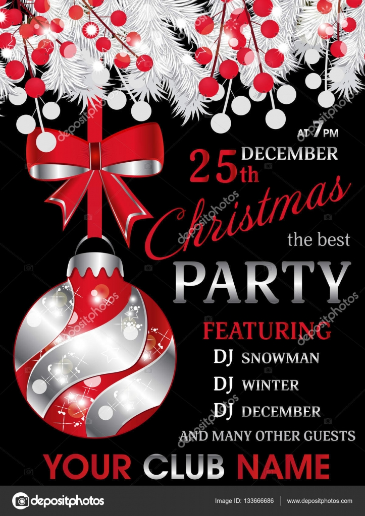 Christmas party invitation black template background with white ...