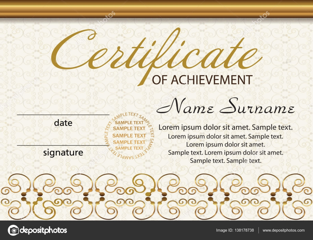 Certificate or diploma template award winner reward winning the certificate or diploma template award winner reward winning the competition elegant gold frame with an ornament vector illustration yelopaper Choice Image