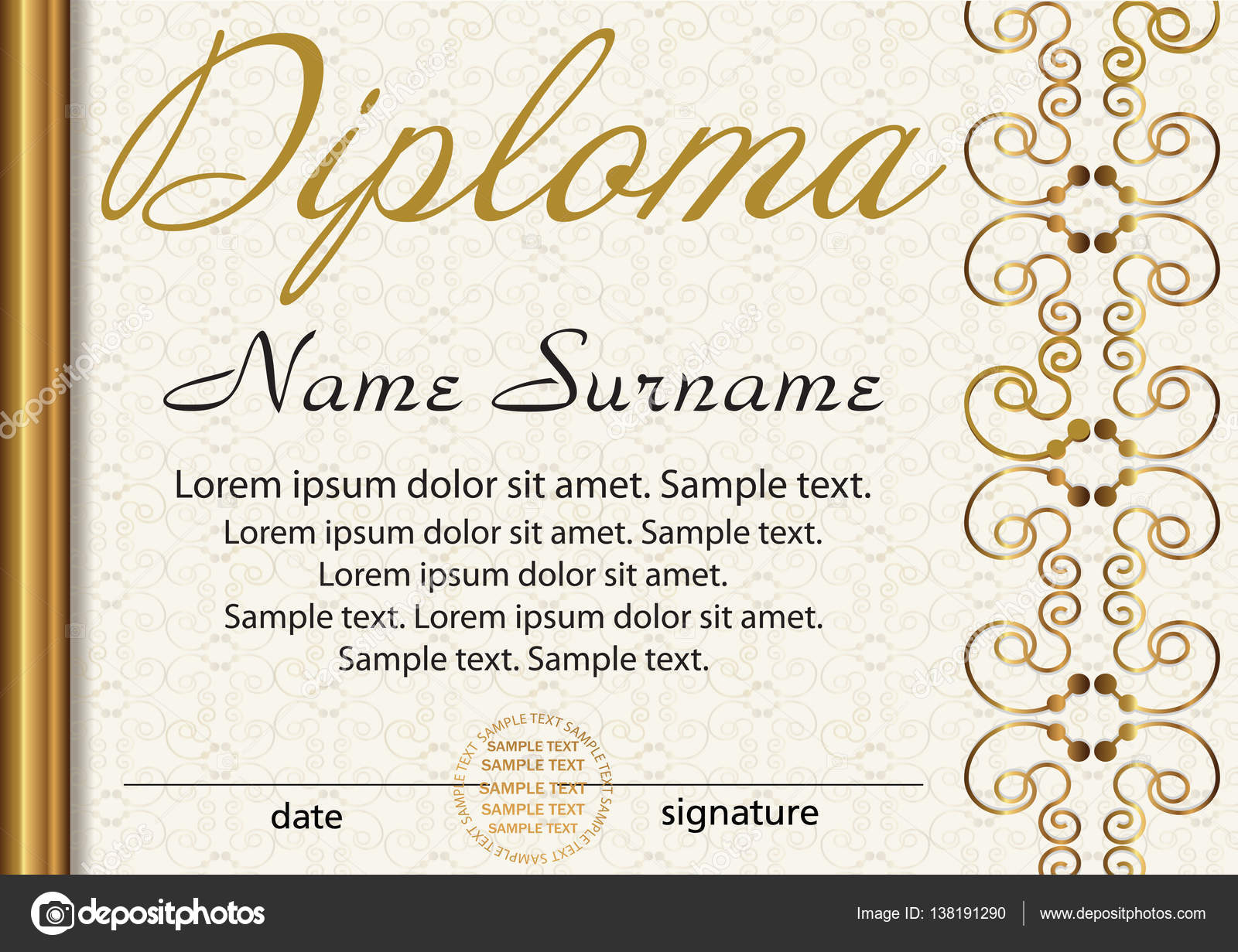 Certificate or diploma template award winner reward winning the diploma or certificate template award winner reward winning the competition elegant gold frame with an ornament vector illustration yelopaper Choice Image