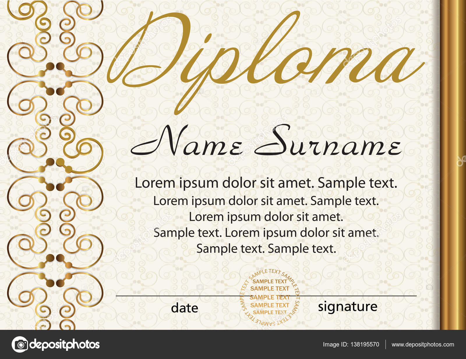 Certificate or diploma template award winner reward winning the diploma or certificate template award winner reward winning the competition elegant gold frame with an ornament vector illustration yadclub Choice Image