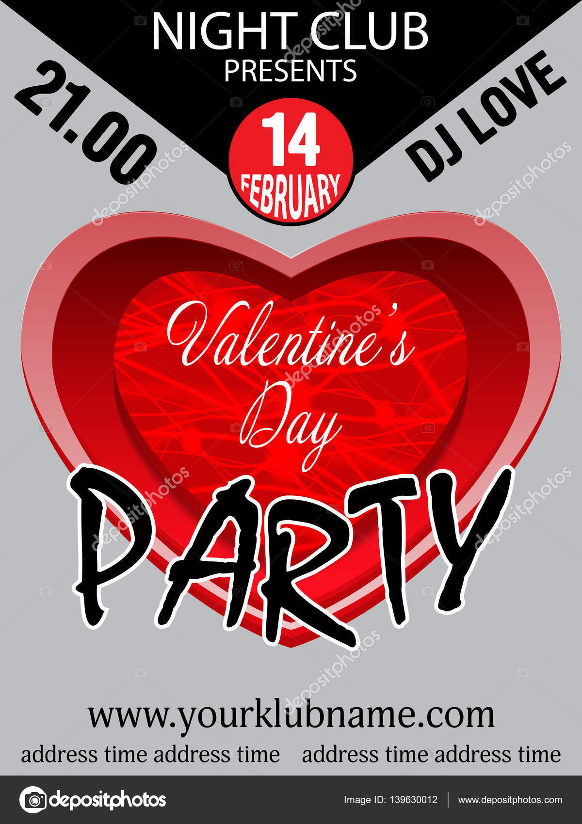 Valentine\'s day party invitation template background with heart ...