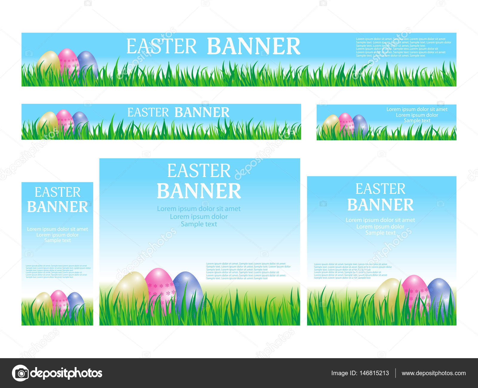 set easter web banners templates standard size template with eggs
