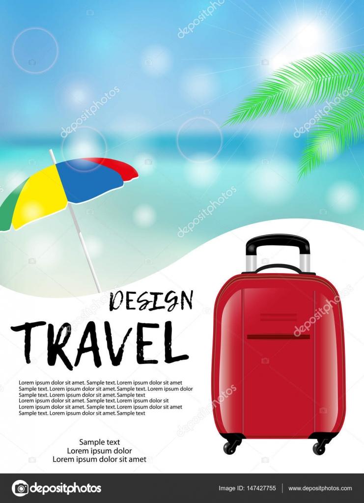 Reisen Und Urlaub Werbung Design Mit Roten Koffer Und Sonnenschirm