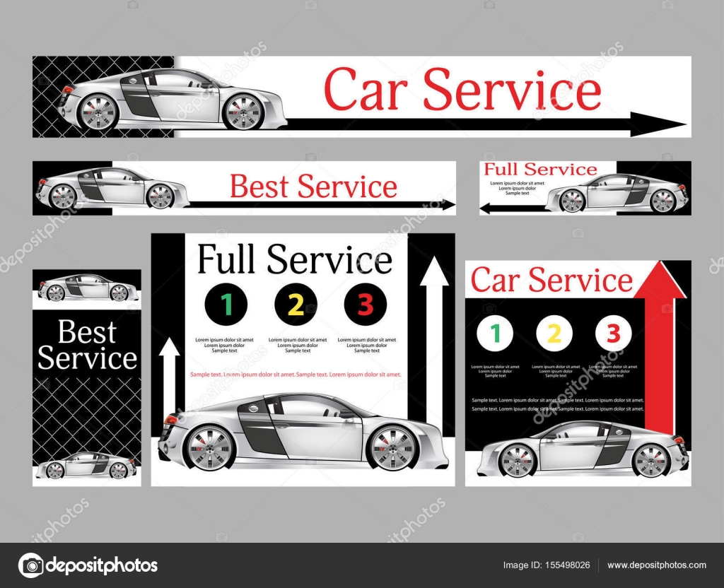 car repair services realistic design set banners for the website