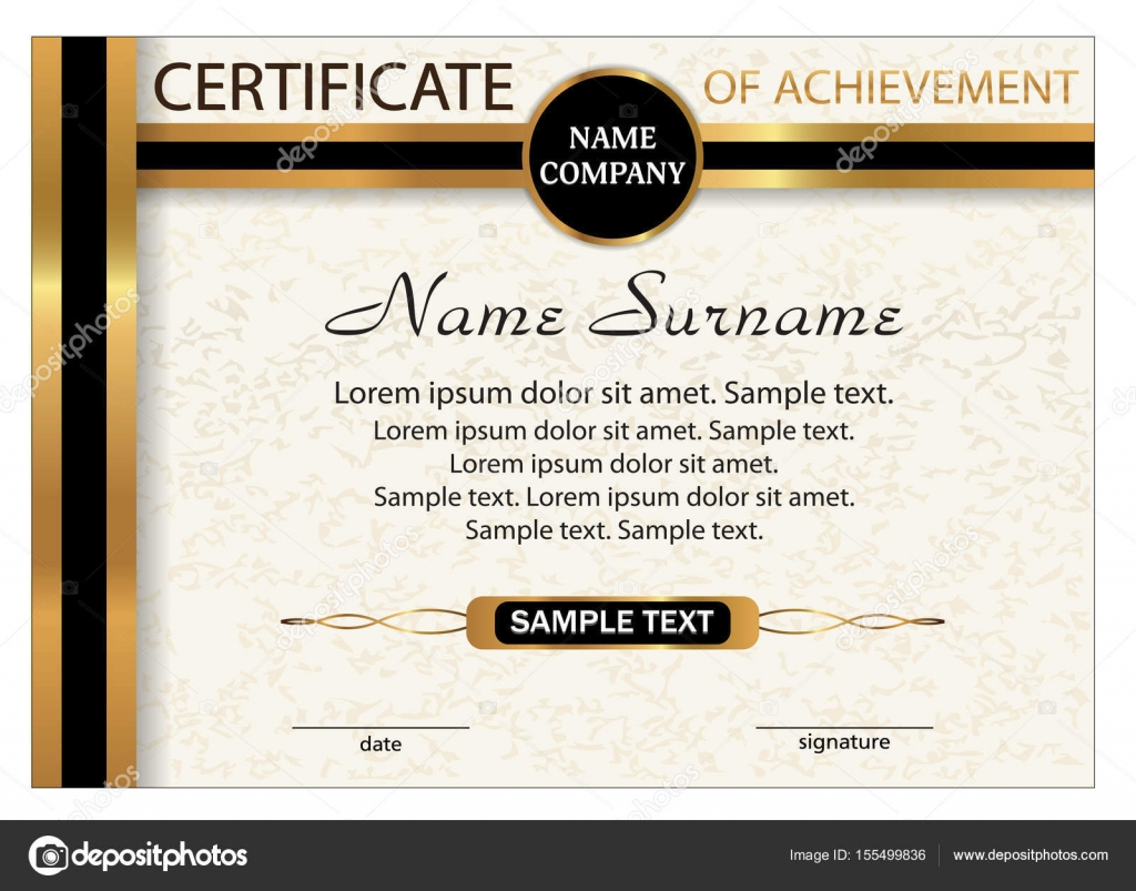 Certificate of achievement diploma template with gold and black certificate of achievement diploma template with gold and black ribbon reward winning the competition award winner a4 size vector illustration alramifo Gallery