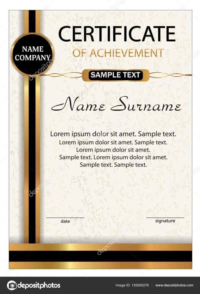 Certificate Of Achievement, Diploma. Vertical Template With Gold And Black  Ribbon. Reward. Winning The Competition. Award Winner. Vector Illustration.  Certificate Of Achievement Sample
