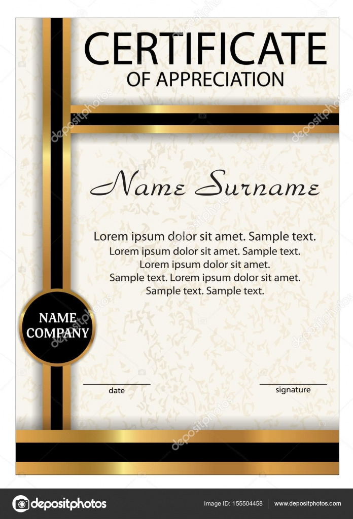 Certificate of appreciation diploma vertical template with gold certificate of appreciation diploma vertical template with gold and black ribbon reward winning the competition award winner a4 size yelopaper Gallery