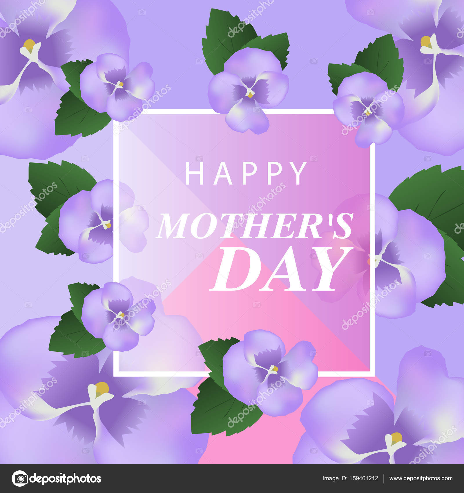 Happy Mothers Day Elegant Background With Purple Flowers Vector