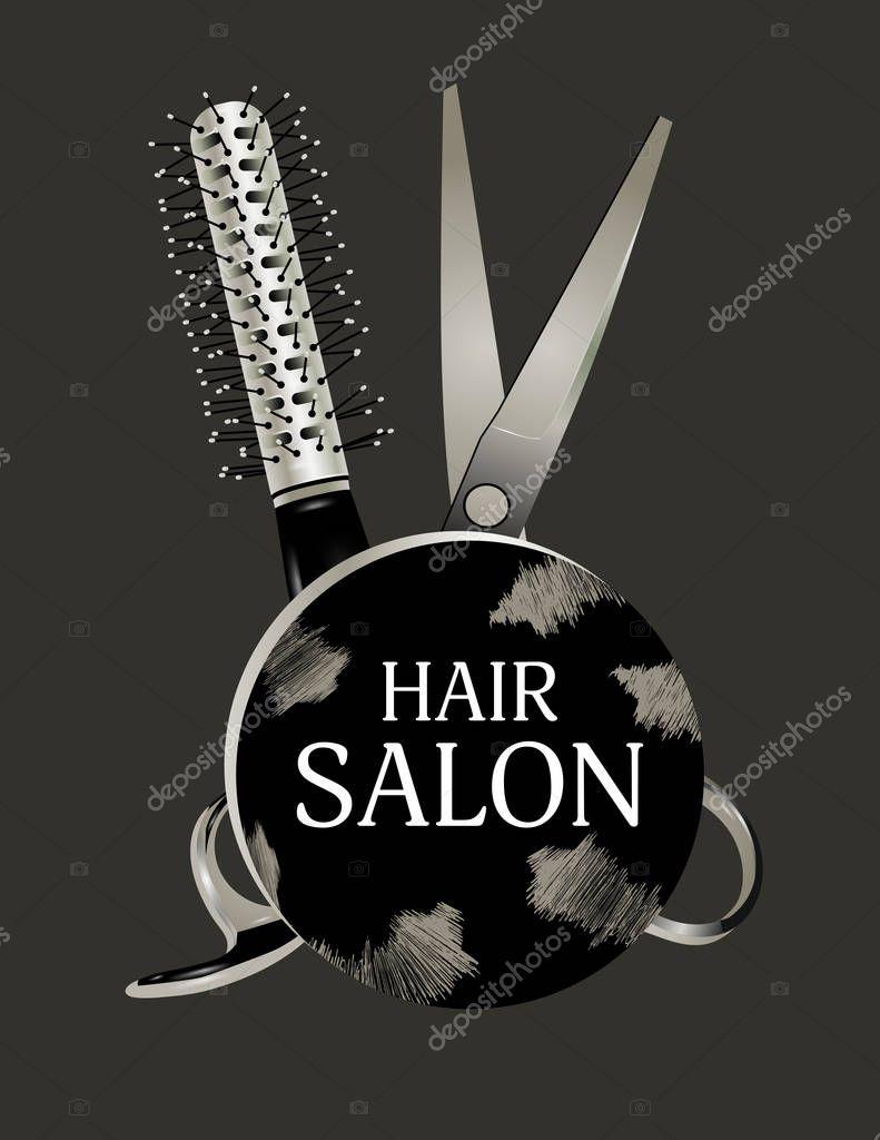 Logo Design Hair Salon With Scissors And Hairbrush Haircut Symbol On A Dark Background Vector Illustration Premium Vector In Adobe Illustrator Ai Ai Format Encapsulated Postscript Eps Eps Format