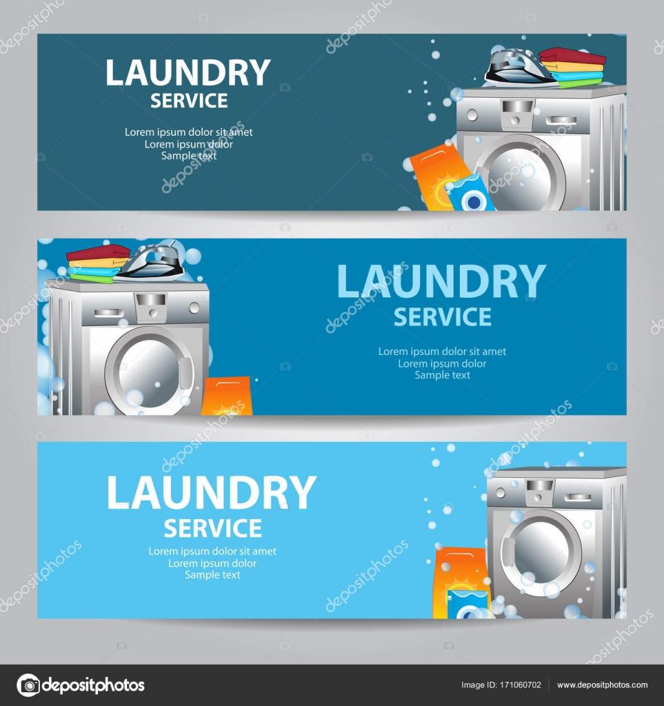 Setzen Sie Banner Wäscherei-Service. Plakat-Vorlage für ...