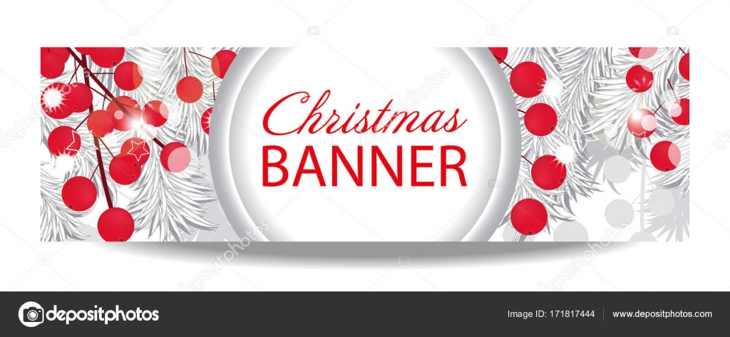 christmas and new year banner with white fir branches and holly berries illustration with place