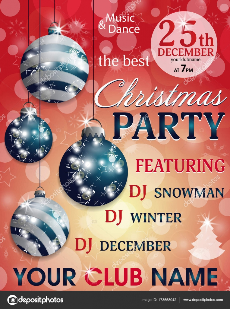 Christmas Party Invitation Template Red Background With Hung Blue