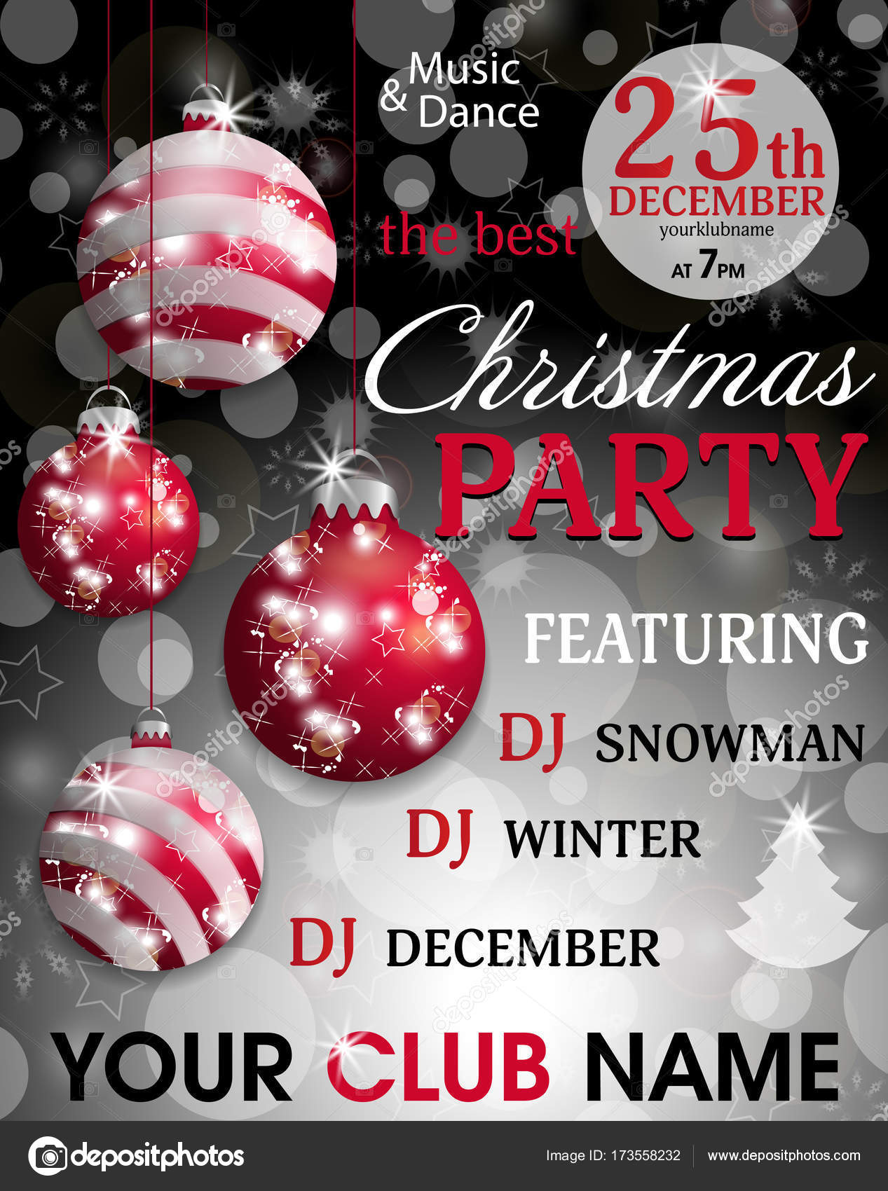 Christmas party invitation template black background with hung red ...