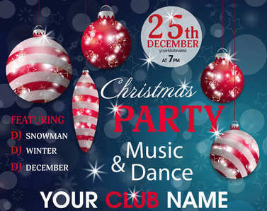 Christmas party invitation template blue background with red baubles. Vector