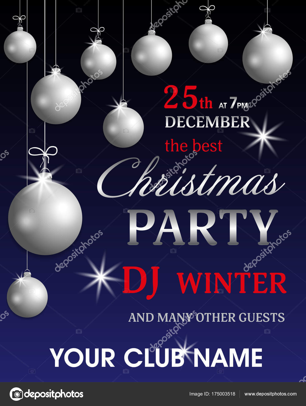 template poster invitation christmas party and new year with silver balls holidays flyer design