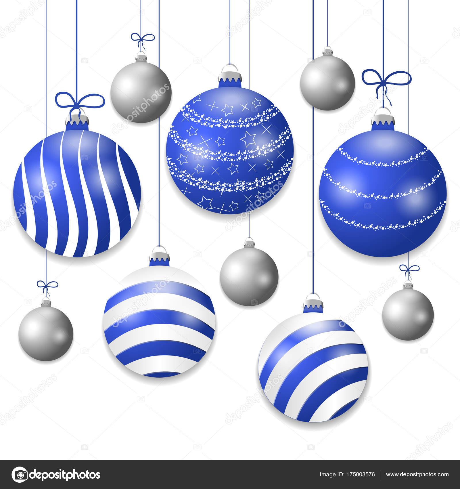 stellen sie h ngende blau und silber weihnachtskugeln dekorative kugeln elemente isoliert auf. Black Bedroom Furniture Sets. Home Design Ideas