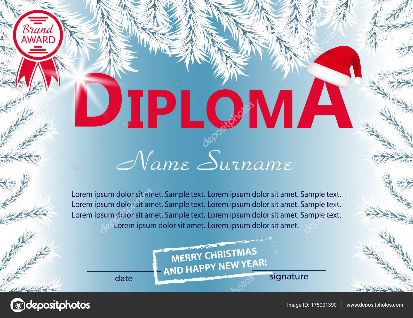 Weihnachts-Vorlage-Diplom oder Zertifikat. Neue Jahr Belohnung mit ...