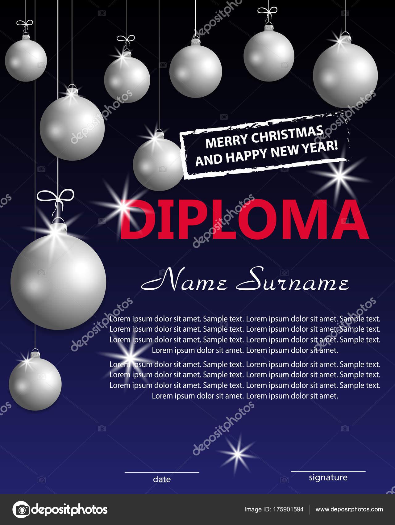 Weihnachts-Vorlage-Diplom oder Zertifikat. Neujahr-Belohnung mit ...