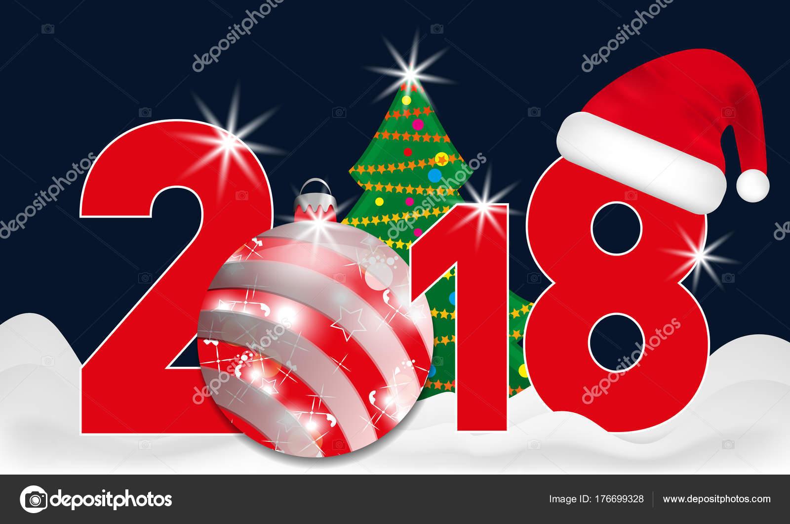 2018 jahr zahlen mit weihnachtsbaum und rote kugel und. Black Bedroom Furniture Sets. Home Design Ideas