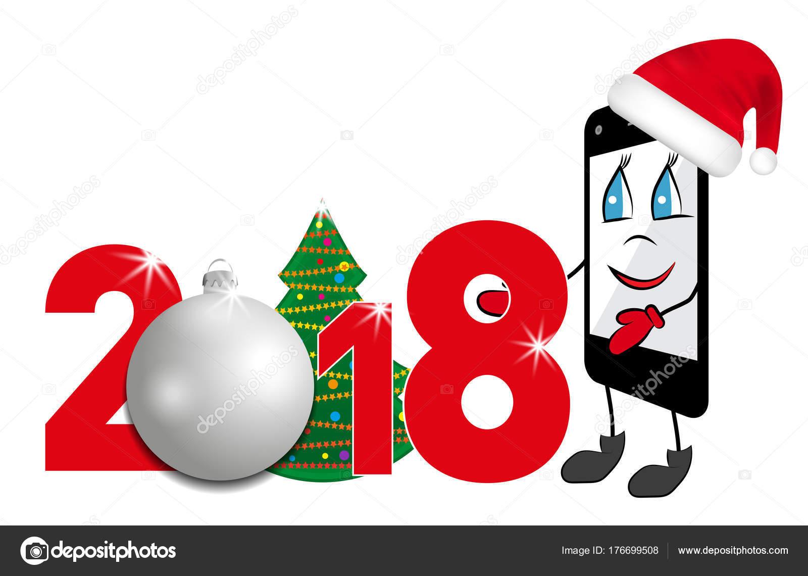 noel 2018 smartphone Dessin animé Smartphone au chapeau rouge de père Noël. 2018 numéro  noel 2018 smartphone